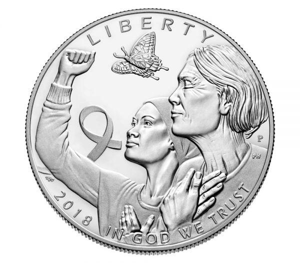 "1$ USA ""Brustkrebsvorsorge"" 2018 Silber PP"