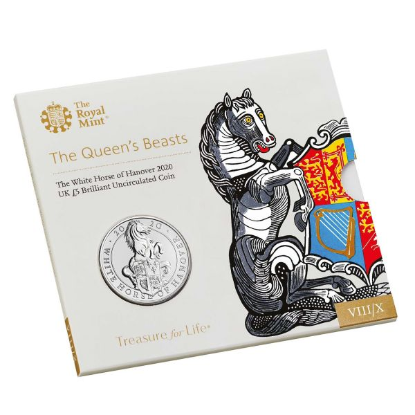 5 Pfund Großbritannien The Queen´s Beasts - Weißes Pferd 2020 Cuni St