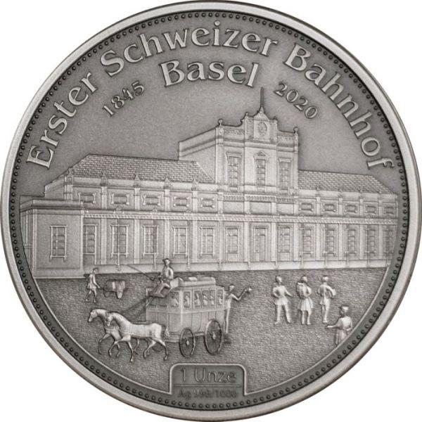 1 Unze Erster Schweizer Bahnhof Basel 1845-2020 Ag Af
