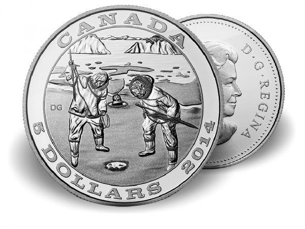 """5 $ Kanada Jagdtradition """"Robbenjagd"""" 2014 Ag PP"""