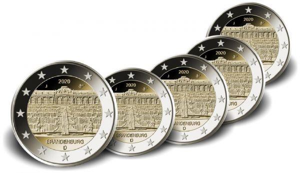 5x2 Euro Deutschland Brandenburg - Sanssouci 2020 CN vz A-J