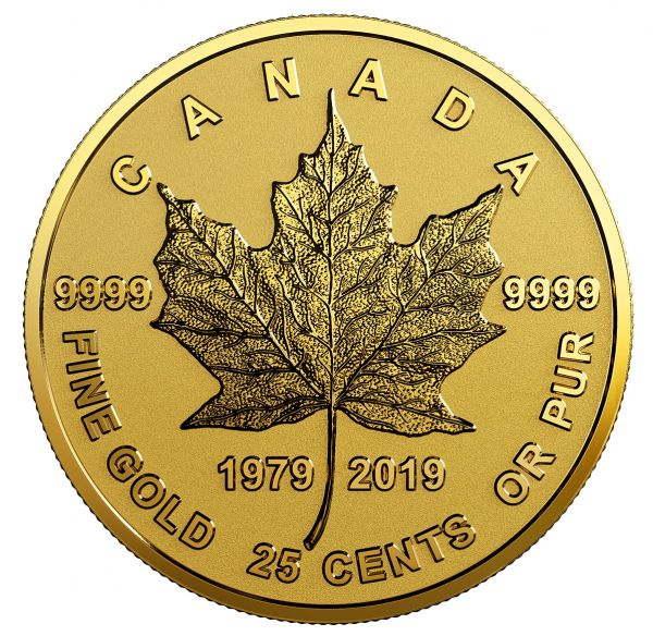 "25 Ct Kanada ""40 J. Maple Leaf Gold"" 2019 Gold PP"