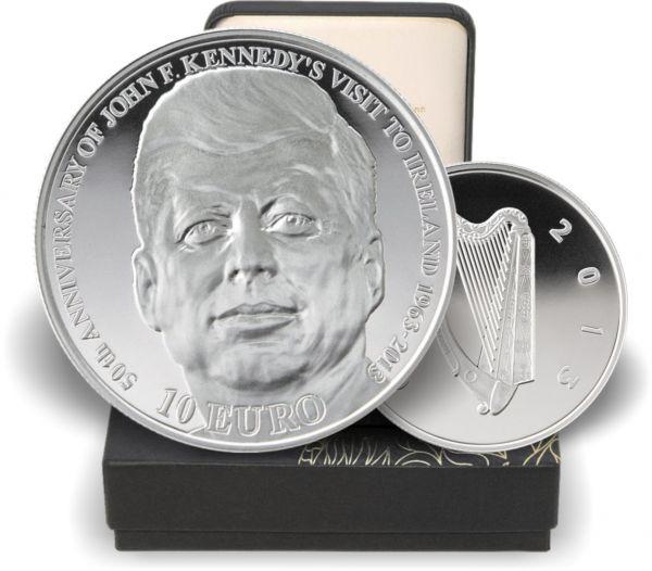 """10 € """"50 Jahre Irlandbesuch Kennedy"""" 2013 Silber PP"""