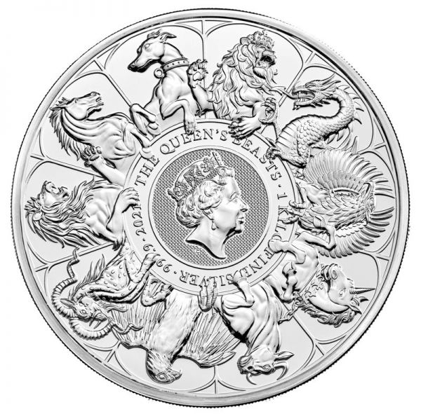 500 Pfund GB Queen's Beasts - Completer Coin 2021 1 Kg Silber St