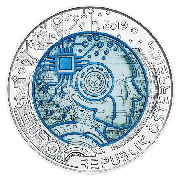 """25 € Österreich """"Künstliche Intelligenz"""" 2019 Silber hgh Niob"""