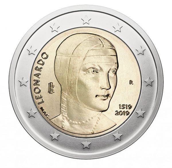 2 Euro Italien 500. Todestag Da Vinci 2019 CN bfr