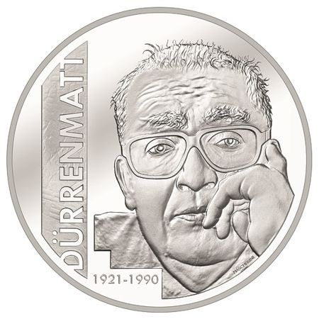 20 CHF Schweiz Friedrich Dürrenmatt 2021 Silber PP