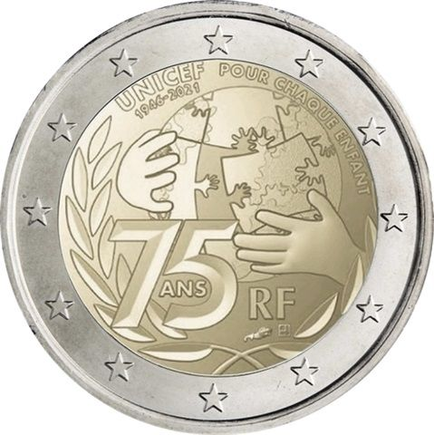 2 Euro Frankreich 75 Jahre Unicef 2021 CN bfr