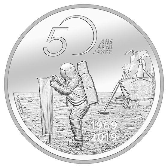"""20 CHF Schweiz """"50 J. Mondlandung Apollo 11"""" Künstlerzerti 2019 Silber PP"""