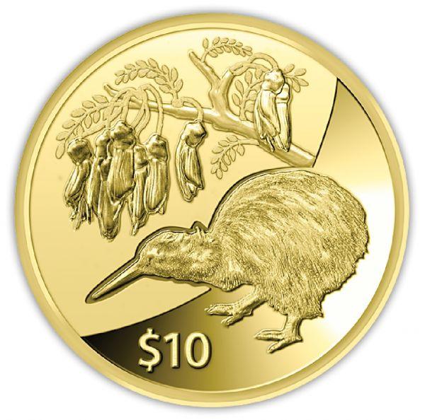 """10 $ Neuseeland """"Kiwi"""" 1/4 oz 2012 Gold PP"""