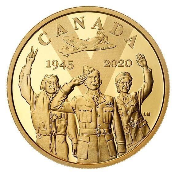 100 Dollar Kanada 75 Jahre Ende 2. Weltkrieg 2020 Gold PP