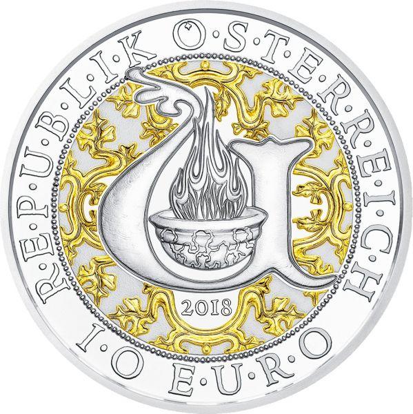 """10 € Österreich """"Uriel der Lichtengel"""" 2018 Silber PP farbig"""