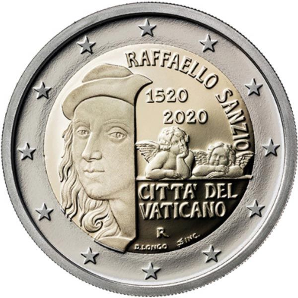 2 Euro Vatikan 500. Todestag von Raffael 2020 CN St