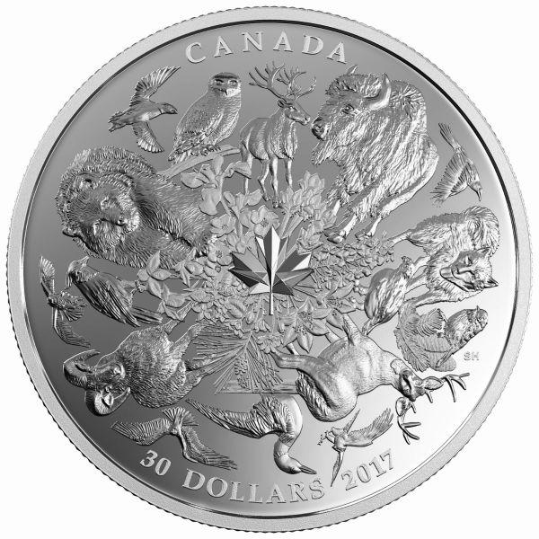 """30 $ Kanada """"Kanadische Flora und Fauna"""" 2017 2oz Ag PP"""