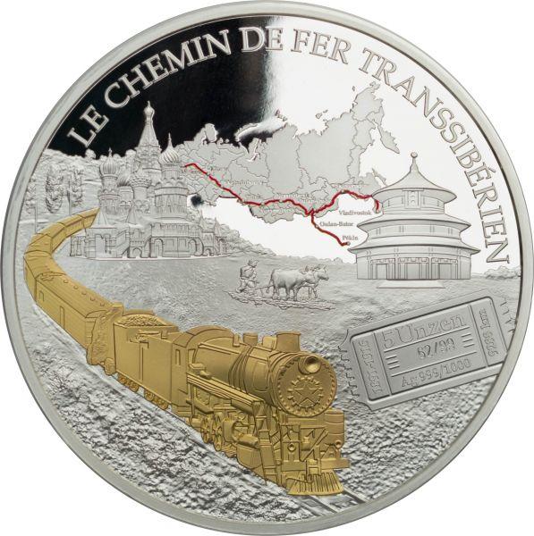 """5000 CFA Kamerun """"Transsibirische Eisenbahn"""" 2018 Silber 5 oz"""