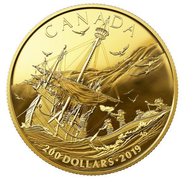 "200 $ Kanada ""Ankunft der ersten Europäer"" 2019 Gold PP"