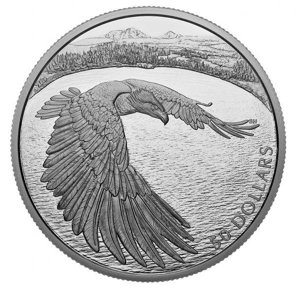 50 Dollar Kanada Der mutige Weißkopfseeadler 2020 Silber PP