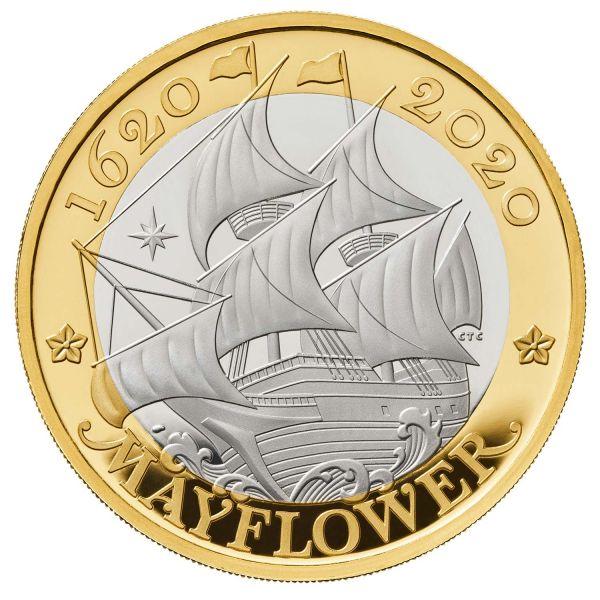 2 Pfund GB 400. Jahrestag Mayflower 2020 Silber PP