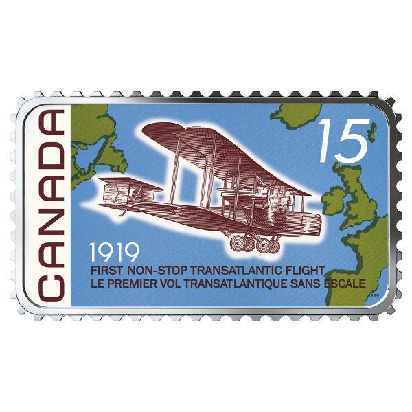 """20 $ Kanada """"1. Non-Stop Transatlantikflug"""" 2019 Silber PP"""