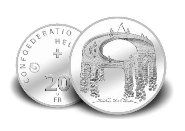 20 CHF Schweiz Illusion - Viadukt des Lebens 21 Probe Silber St