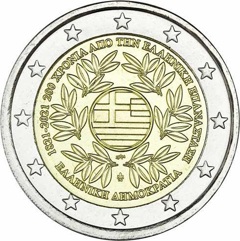 2 Euro Griechenland 200 Jahre Revolution 2021 CuNi bfr