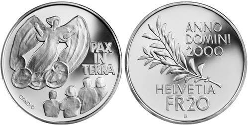 """20 CHF Schweiz """"Pax in Terra"""" 2000 Ag St"""