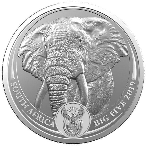 "5 Rand Südafrika ""Big Five - Elefant"" 1oz 2019 Silber St"