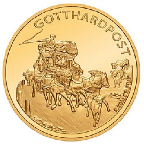 """50 CHF Schweiz """"Gotthardpost"""" 2013 Gold PP"""