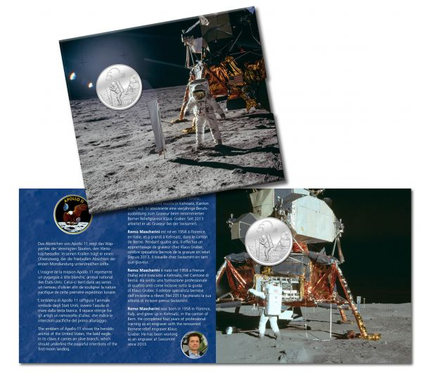 "20 CHF Schweiz ""50 J. Mondlandung Apollo 11"" im Folder 2019 Silber St"