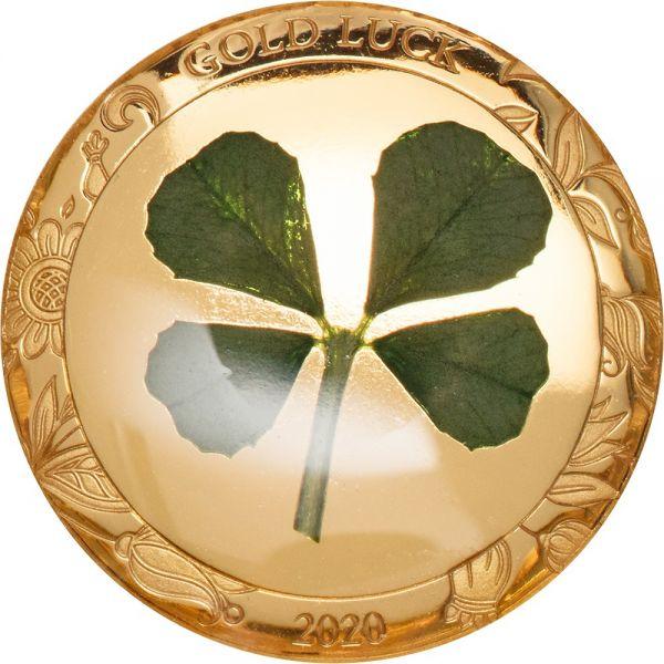1 Dollar Palau Glücksmünze Kleeblatt 2020 Gold PP