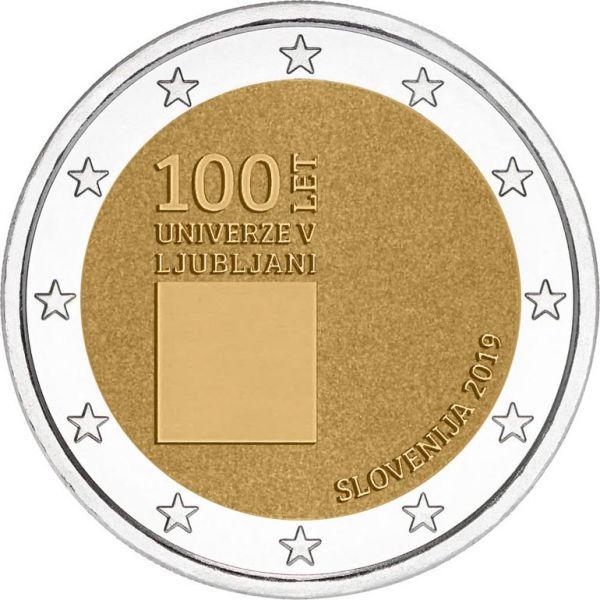 2 Euro Slowenien 100 J. Universität v. Ljubljana 2019 CuNi bfr