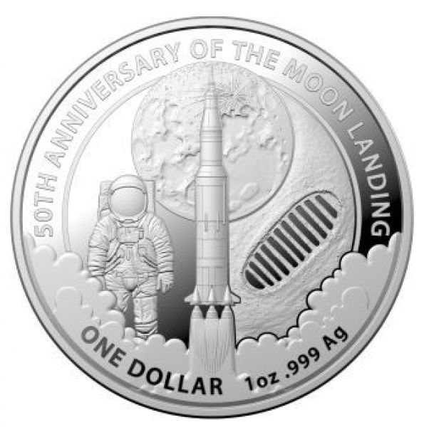 """1 $ Australien """"50 J. Mondlandung RAM"""" 2019 Silber St"""