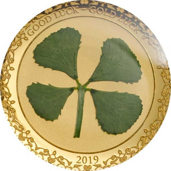 "1 $ Palau Glücksmünze ""Kleeblatt"" 2019 Gold PP"
