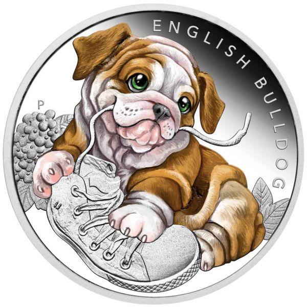 "50 Ct. Tuvalu ""Hundebabies - Englische Bulldogge"" 2018 Silber PP"
