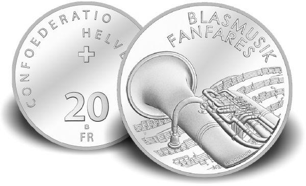 """20 CHF Schweiz """"Blasmusik"""" 2016 PP Ag"""