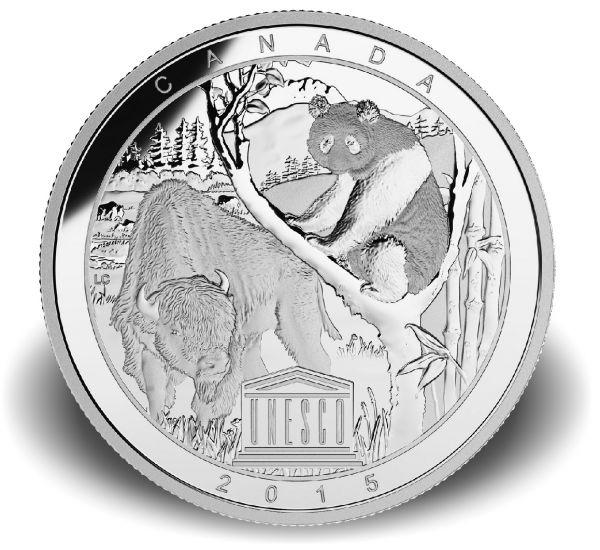 """20 $ Kanada """"UNESCO - Buffalo und Panda"""" 2015 Silber PP"""