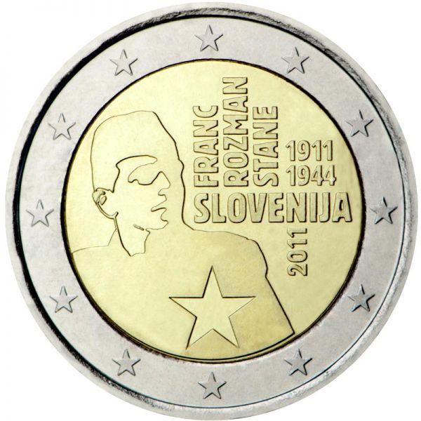 """2 € Slowenien """"100. Gb. v. Franc Rozman"""" 2011 CN vz"""