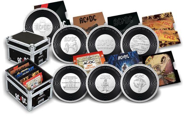 7x 20 Cents Australien 45 J. AC/DC Plattensammlung 2020 AlBr St