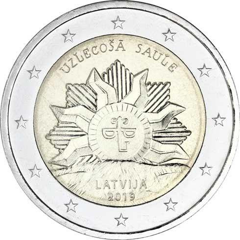 2 Euro Lettland Die aufgehende Sonne 2019 CuNi bfr