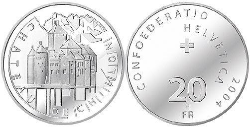 """20 CHF Schweiz """"Chillon"""" 2004 Silber St"""