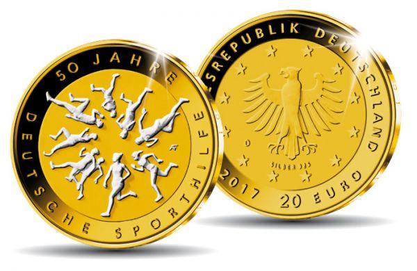 """20 € DE """"50 J. Deutsche Sporthilfe"""" 2017 Silber St"""