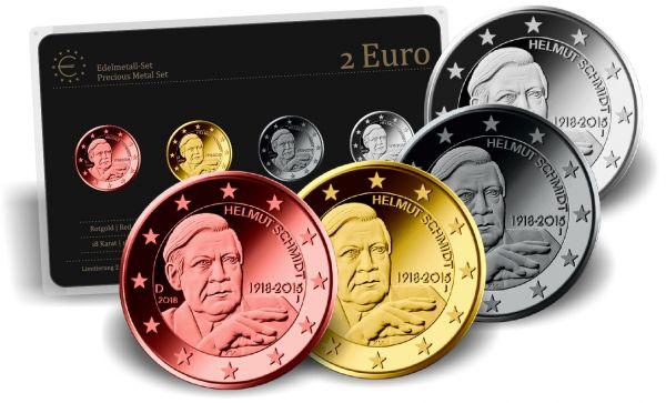 4x 2 € Edelmetall-Set Helmut Schmidt