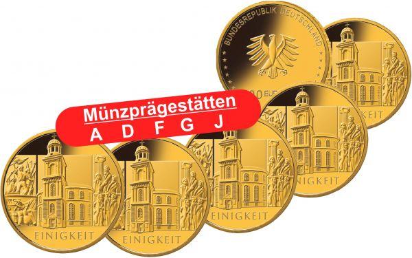5x 100 Euro DE Säulen der Demokratie - Einigkeit 2020 Gold St A-J