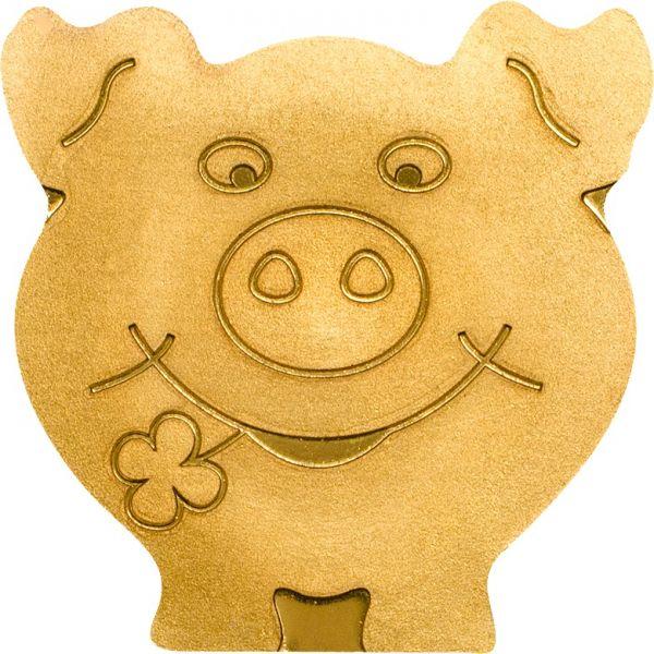 """1 $ Palau """"Glücksschwein"""" Gold St"""