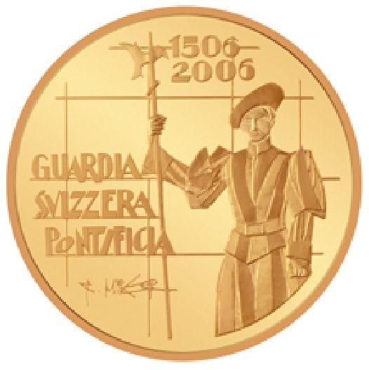 """50 CHF Schweiz """"500 J. Schweizergarde"""" 2006 Gold PP"""