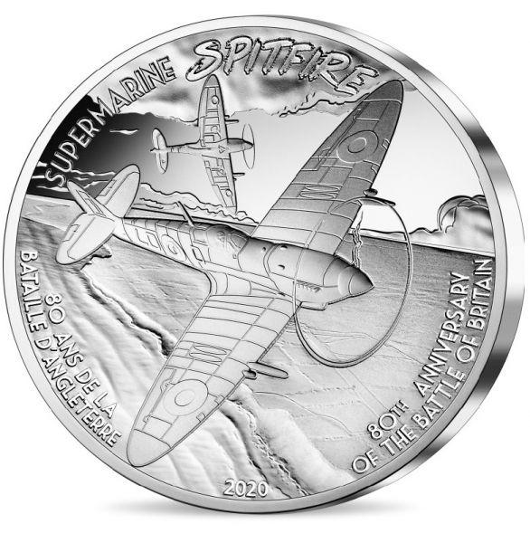 10 Euro Frankreich Geschichte und Luftfahrt - Spitfire 2020 Silber PP