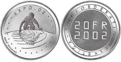 "20 CHF Schweiz ""Expo.02"" 2002 Silber St"