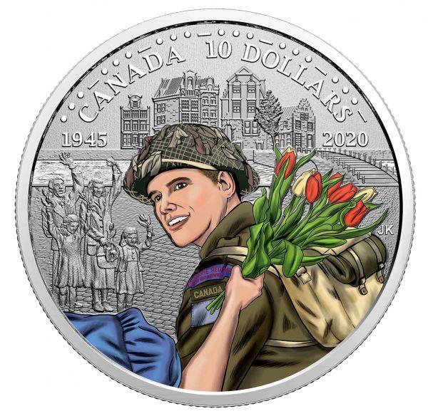 10 Dollar Kanada 75 J. Befreiung der Niederlande 2020 Silber PP