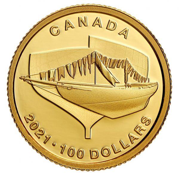 100 Dollar Kanada 100 Jahre Bluenose 2021 Gold PP