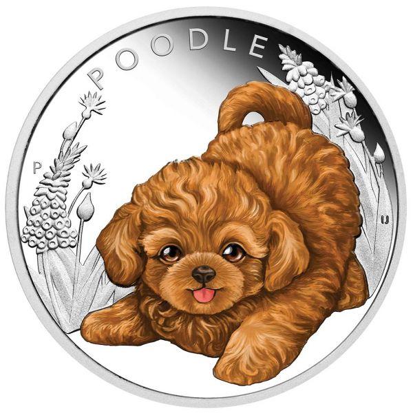 "50 Ct. Tuvalu ""Hundebabies - Pudel"" 2018 Silber PP"